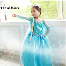 2017 Fairy Baby Girl Elsa Dress Anna Clothes Snow White Queen Princess Dress Kids Girls Costume Party Christmas Clothes(China)
