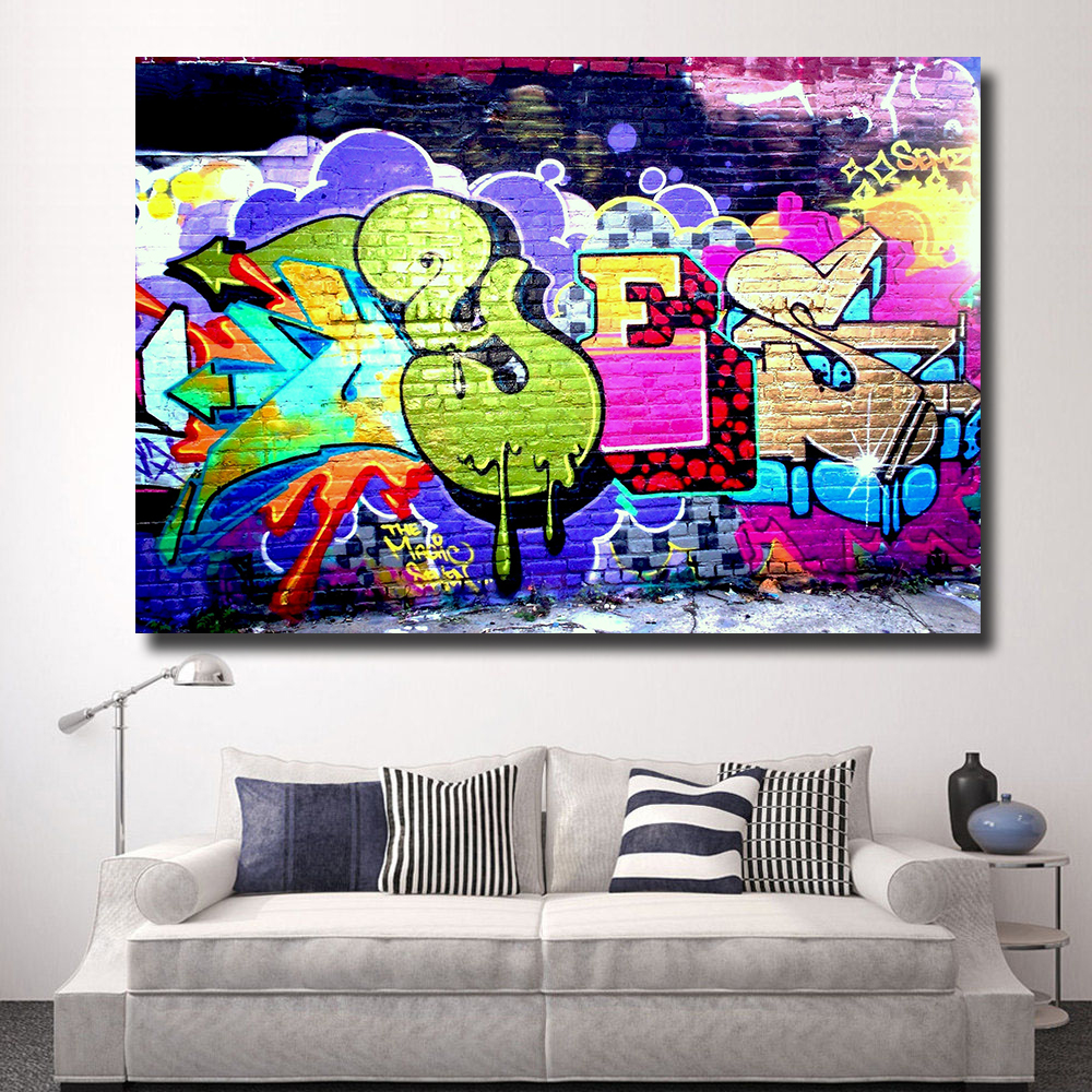 HDARTISAN Home Printed Graffiti on street walls Oil Painting on Canvas Prints Wall Art Pictures for Bedroom Living(China)