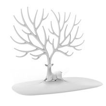 Decorative Deer Antler Tree Design Bracelet Necklace Holder / Jewelry Organizer Stand w/ Ring Tray (White)