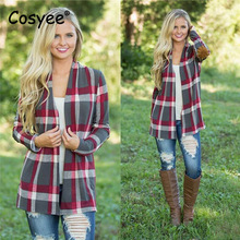 Cosyee Women Fashion Plaid Printed Cardigan Tops High Quality Long Sleeve Open Stitch Female Wide-waisted Casual Knitting Coats