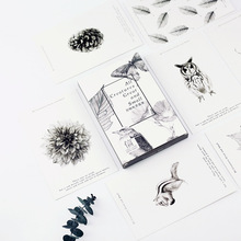 30pcs/box black animal plant diy pad message paper gift card post it school supply bookmark big size memo(China)