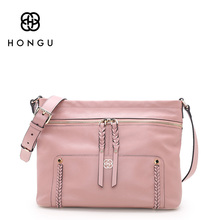 HONGU Luxury Brand Genuine Leather Messenger Crossbody Bags for Women Stitching Bucket Shoulder Purse With Side Zipper Pocket