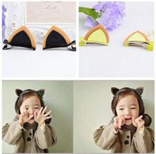 2pcs=1pair Girls Hair Clips cat ear Hairpin BB clip Barrettes Kids hair clips ornament