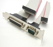DB25 25Pin Parallel Port Printer LPT + RS-232 RS232 COM DB9 9Pin Serial Port Cable Cord Wire Bracket 30cm