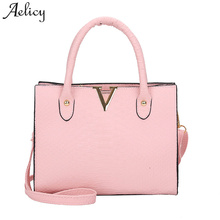 Aelicy 2018 New Design Alligator Pattern Shoulder Bag PU Leather Woman Designer Bags Luxury High Quality Fake Designer Handbags(China)