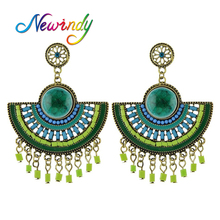 Newindy  Fan Shape  Bohemia  Personalized Earring Green  Drop Dead  Dangle Earrings  Design Jewelry For Women