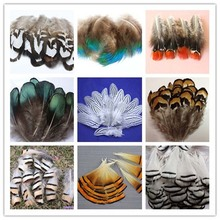 Wholesale 10 PCS beautiful pheasant tail & peacock feathers 4-10cm/2-4inches(China)