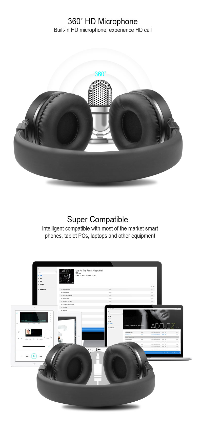 Headphones Computer Gaming Headsets Wired Over-ear Gamer Headsets Adjustable Foldable Metal With Mic for iphone xiaomi phone