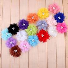 50 шт./лот 6.5 см 18 цветов DIY мягкий шик Mesh волосы цветы с Стразы + жемчуг искусственный Ткань цветы для дети Банданы для мужчин(China)
