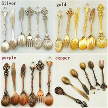 6Pcs/Set Vintage Zinc Alloy Coffee Fork Dinnerware Sets Kitchen Fruit Coffee Dining Accessories