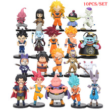 10pcs/set New Dragonball Battle of Gods Super Saiyan Son Goku Vegeta Picollo Gohan PVC Action Figures Dragon Ball Z Dolls(China)