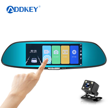 "ADDKEY 7"" Touch Screen car dvr camera rearview mirror auto dvrs dual lens recorder registrator FHD 1080p night vision dash cam(China)"