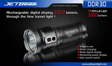 Free Shipping JETBEAM DDR30 3xCree XM-L2 LED 3300 lumen 3x18650 3 in 1 mode digital display Direct charging tactical flashlight