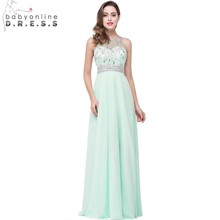 Babyonline Mint Green Luxurious Beaded Crystal Evening Dresses 2017 Long O-Neck Formal Dress Sexy Sheer Back Vestido De Festa(China)