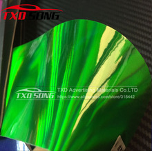 10/20/30/40/50/60X152CM/LOT New Arrival Green Holographic Chrome Vinyl Film Laser Car Wrap Sticker Sheet With Air Bubbles(China)