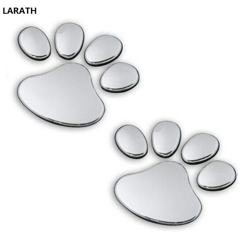 LARATH 2pcs/ Lot Stylish Silver Funny Bear Paw Pet Animal Footprint Emblem 3D Cartoon Car Stickers Decor Auto Accessories