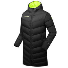 Wholesale Kelme K090 Men Long Hooded Winter Keep Warm Coat Training Sport Football Down Jacket Black