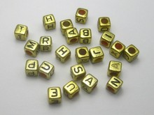 500 Assorted Golden Metallic Acrylic Alphabet Letter Cube Pony Beads 6X6mm(China)