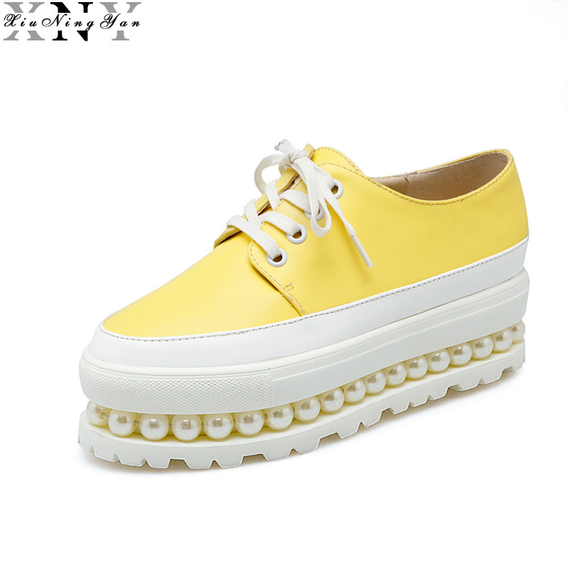 XIUNINGYAN Platform Women Shoes 2017 New Fashion Women Oxfords Casual Creeper Spring Autumn Lace-Up Breathable Lady Brogue Shoes<br>