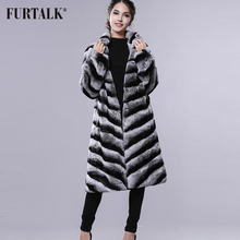 FURTALK New Winter Rex Rabbit Fur Coat Big Collar Chinchilla Fur Coat for women(China)