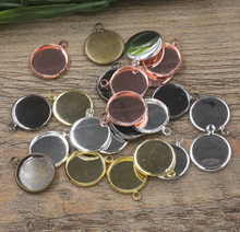 10mm,12mm,14mm,16mm,18mm,20mm,25mm 50pcs/bag Bronze/Silver/Gold/Black Blank Charms Pendant Trays Base Setting Cameo Cabochon(China)