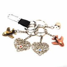 New Fashion Jewelry Heart Plane Keychain Ring Keyring Lover Romantic New chaveiro couple Key Chain Valentines Best Gift