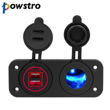 powstro 2 in 1 modification car charger with dual USB output and cigarette lighter for Ford Toyota Hyundai all kinds of vehicles