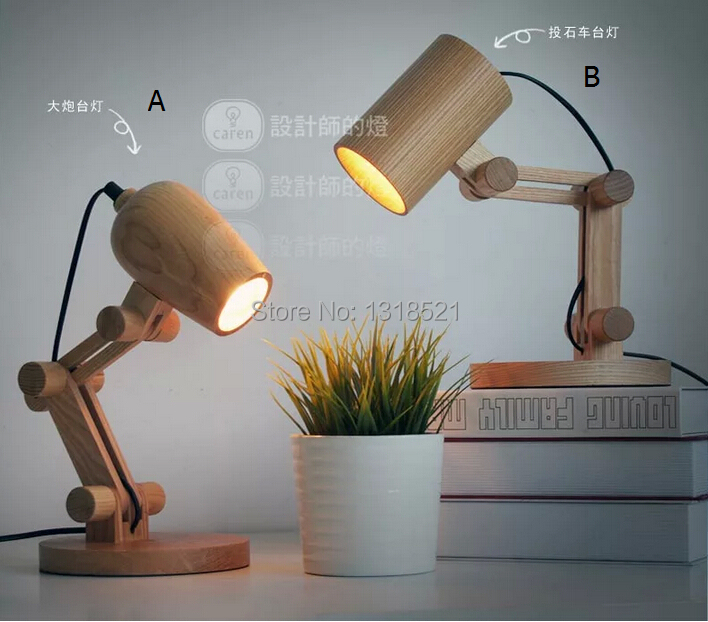 Newest Design Wood Table Lamps Desk Light Living Room Bedroom Decor  110 240V Solid Wood Part 67