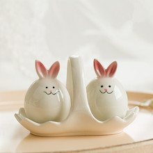Creative handicrafts ceramic rabbit seasoning container set salt sugar rabbit seasoning bottle(China)