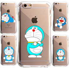Cute Cartoon Doraemon For IPhone 5S SE 6 6S 7 7Plus Case Anti knock UnBreak Crystal transparent soft Tpu Cell Phone Cover