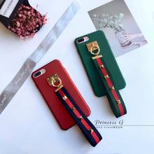 Fashion metal buckle hand strap phone case for apple iphone 7plus iphone7plus  inch cool hard pc back cover 204