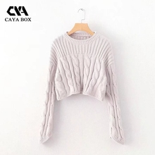 Buy CAYA BOX Autumn Loose crop top long sleeve sweater new solid o neck women clothings cropped ladies tops for $25.51 in AliExpress store