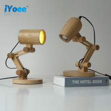 [iyoee] Creative Retro Coffee Shop Table Lamp Wood Vintage Desk Lamp E27 Bulb 110V 220V DIY Bedroom Bar Table robot Desk Light