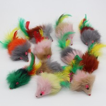 Westrice Long-haired variety of colors rabbit tail feathers cat toy mouse bite amused Cats Mice Toys 20 Pieces 3CM(China)