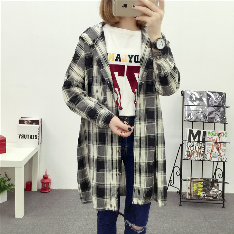 Brand Yan Qing Huan 2018 Spring Long Paragraph Large Size Plaid Shirt Fashion New Women's Casual Loose Long-sleeved Blouse Shirt 29 Online shopping Bangladesh