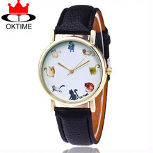 Hot Selling OKTIME Brand Fashion Lovely Cat Watch Casual Women Leather Strap Quartz Watches Relogio Feminino Gift KT19