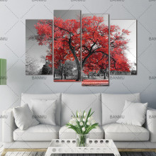 Multi Panels Landscape Canvas Wall Art Maple Tree Forest Painting Prints for Wall Decor,Black and White Artwork for Living Room(China)
