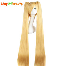 MapofBeauty long straight cosplay wigs Blonde black white pink red blue 7 colors 2 Ponytails 120cm Costume Party Synthetic hair