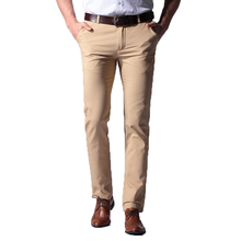 Formal Men Pants Business Casual 100% Cotton Brand Clothing Loose Straight Thin Section Workwear Classic Trousers Khaki