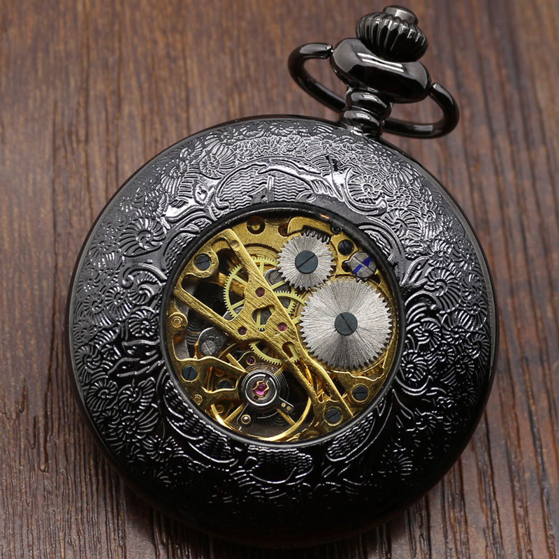 Hollow Vintage Semi Automatic Skeleton Mechanical Pocket Watch Chain Mens Gifts P807WBWB<br><br>Aliexpress