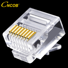 cncob Cat5e utp flat network cable network connector 8P8C rj45 modular Ethernet connector RJ-45 short crystal head 50pcs(China)