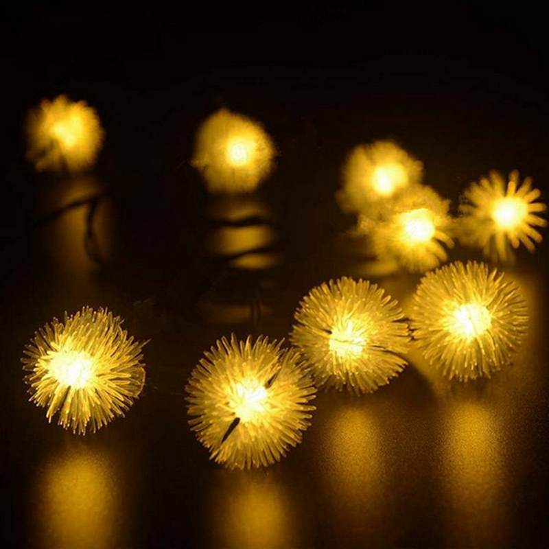 4.8M Solar Power Ball Fuzz 20 LED String Lights Warm White Colorul Led  Fairy Light Outdoor Lighting Garden Patio Christmas Decor