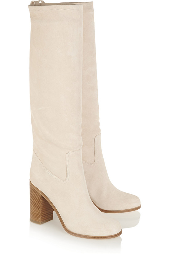 New Style Thick High Heels Autumn Winter Boots Beige Suede Women Boots Slip On Mid Knee High Boots Shoes Woman Botas Mujer (4)