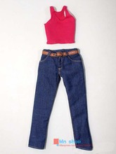"Sexy 1/6 Scale Customize Figure Clothing Red Vest + Jeans For 12""ZYTOYS Female Figure Doll Toys Accessories P45(China)"