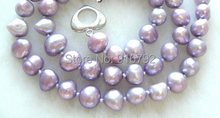 YH@CS >WONDERFUL 9mm lavender natural pearls necklace