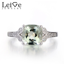 Leige Jewelry Natural Green Amethyst Solid 925 Sterling Silver Ring Fine Gemstone Cushion Cut Engagement Ring for Women