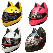 Motorcycle helmet with cat ears automobile race antimist full face helmet personality design with horn Capacete moto Casco
