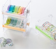 Practical Transparent Plastic Adhesive Tape Dispenser Office Desktop Scotch Tape Holder With Tape Cutter(China)