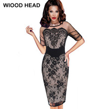 WIOOD HEAD 2017 Lady Pencil Dress Summer Fashion Delicate Sequined Crochet Lace Party Bodycon Dress(China)