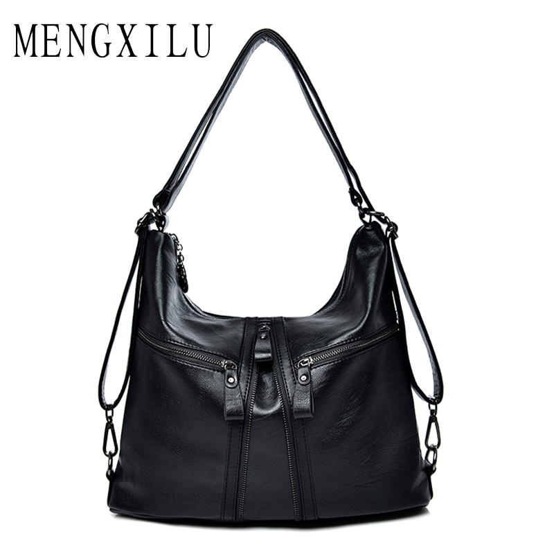 MENGXILU Four Zipper Shoulder Crossbody Bags For Women Luxury Designer Handbags High Quality Leather Bolsas Feminina Messenger<br>